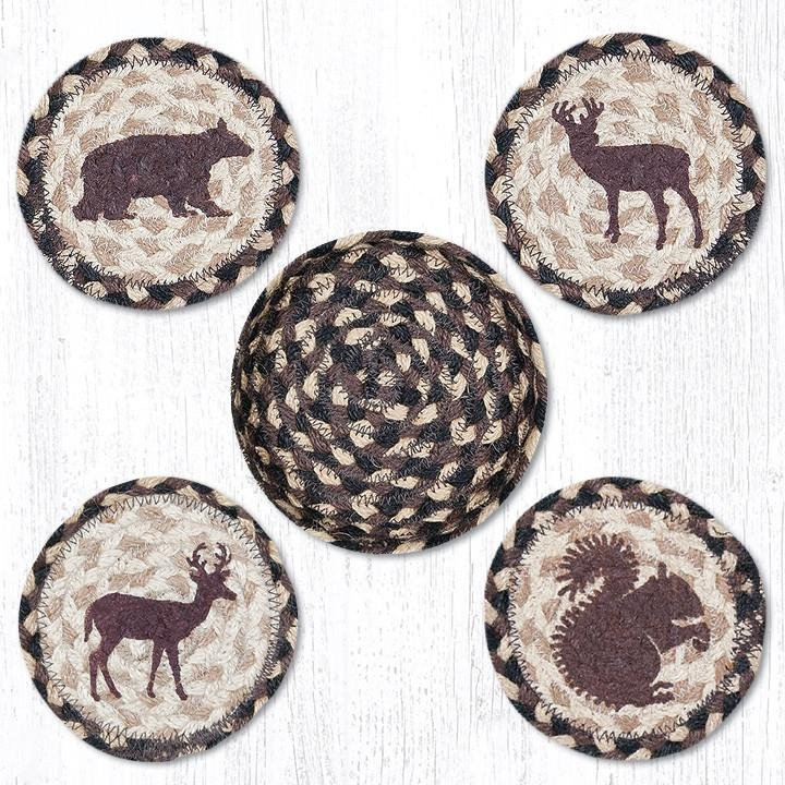 """Wildlife Braided Coasters in a Basket 5""""x5"""" Set of 4"""
