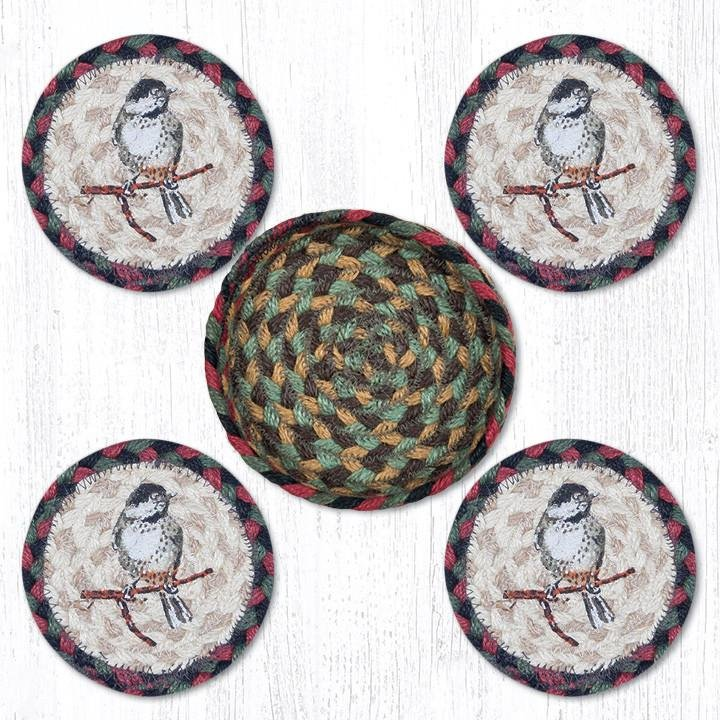 """Chickadee Braided Coasters in a Basket 5""""x5"""" Set of 4"""