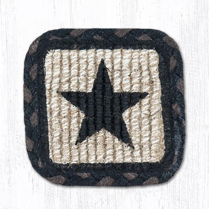 "Black Star Wicker Weave Braided Swatch 10""x15"""