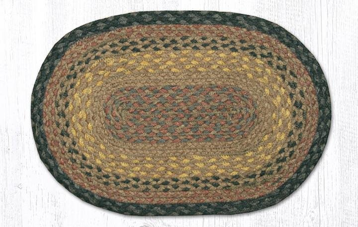 """Brown/Black/Charcoal Oval Braided Swatch 10""""x15"""""""