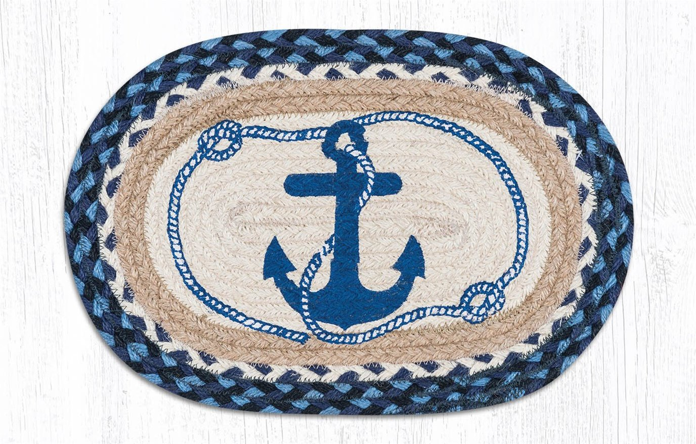 """Navy Anchor Printed Oval Braided Swatch 10""""x15"""""""