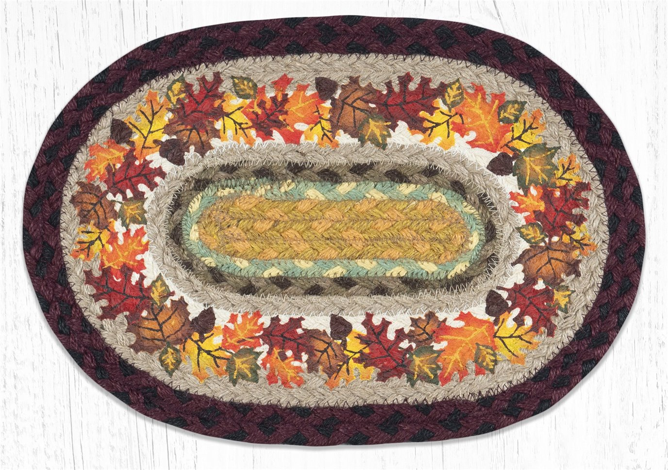 """Autumn Printed Oval Braided Swatch 10""""x15"""""""