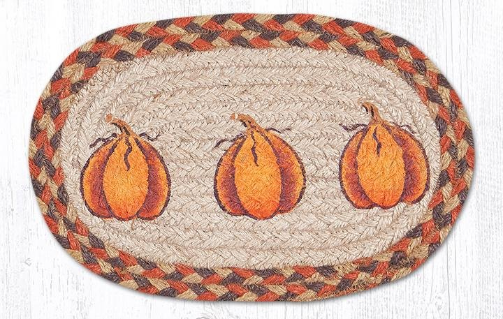 "Harvest Pumpkin Printed Oval Braided Swatch 7.5""x11"""