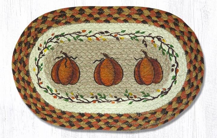 "Harvest Pumpkin Printed Oval Braided Swatch 10""x15"""