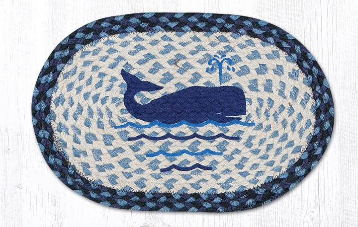 """Whale Printed Oval Braided Swatch 10""""x15"""""""