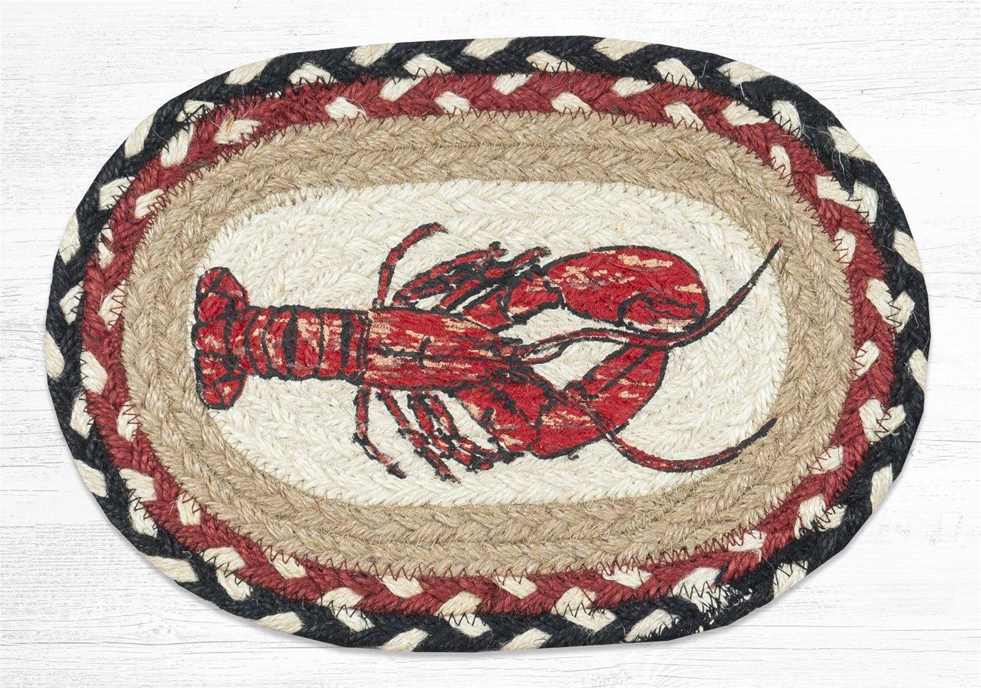 "Fresh Lobster Printed Oval Braided Swatch 7.5""x11"""