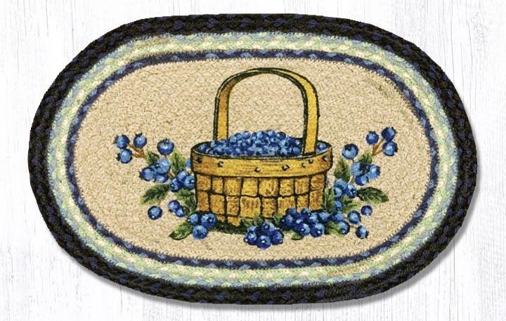 """Blueberry Basket Printed Oval Braided Swatch 10""""x15"""""""