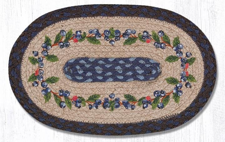 "Blueberry Vine Printed Oval Braided Swatch 10""x15"""