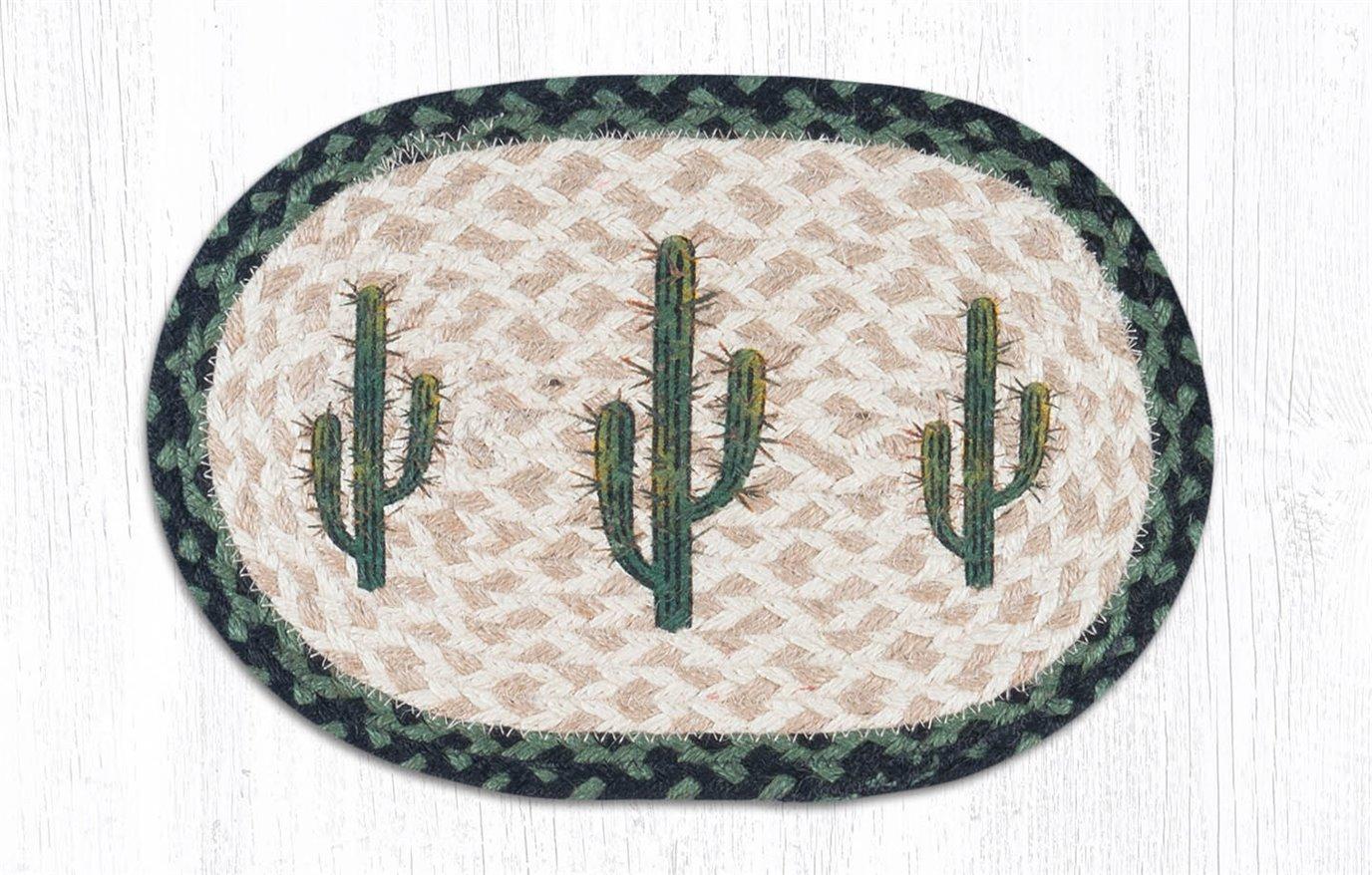 "Saguaro Printed Oval Braided Swatch 10""x15"""