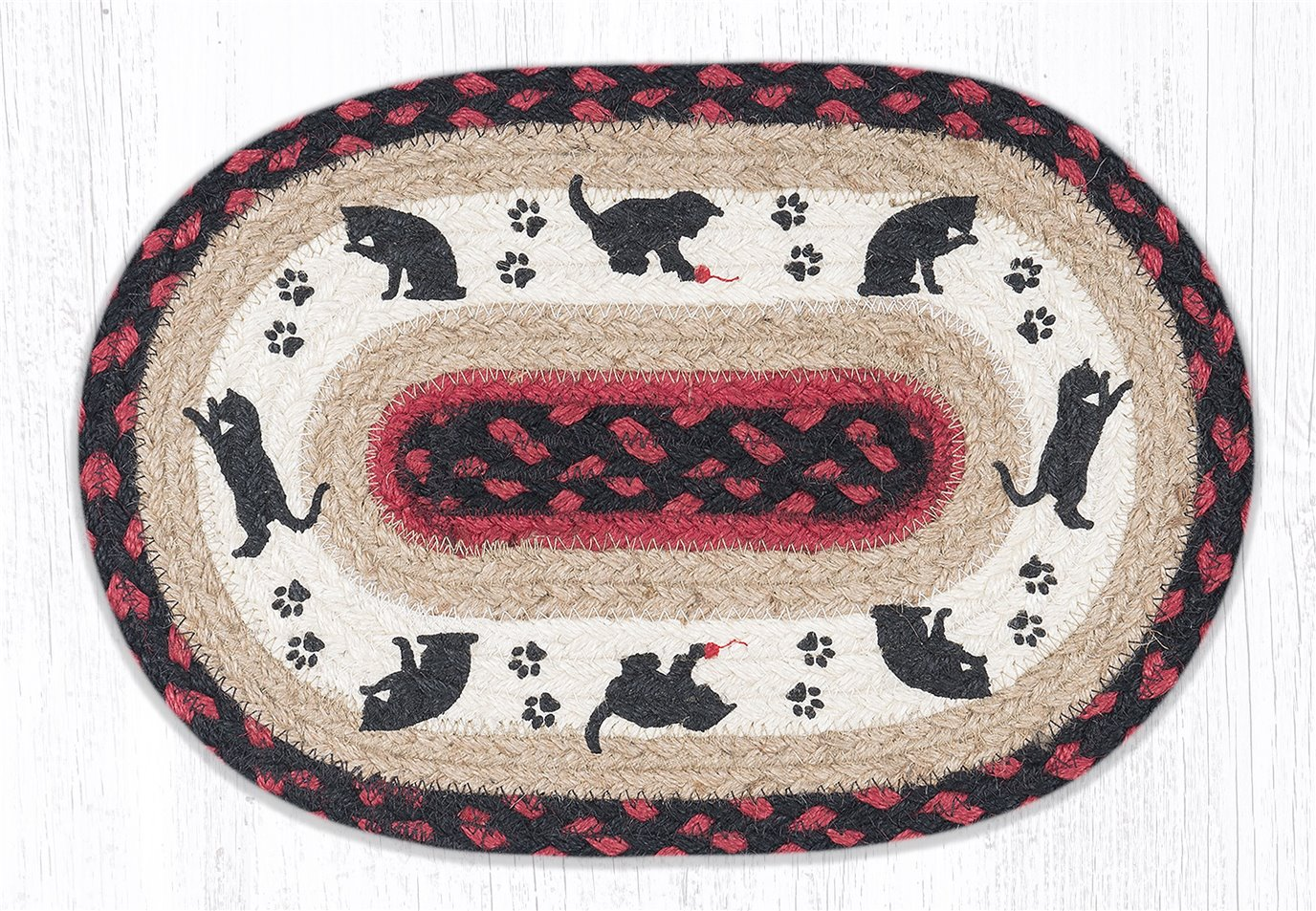 """Cat and Kitten Printed Oval Braided Swatch 10""""x15"""""""
