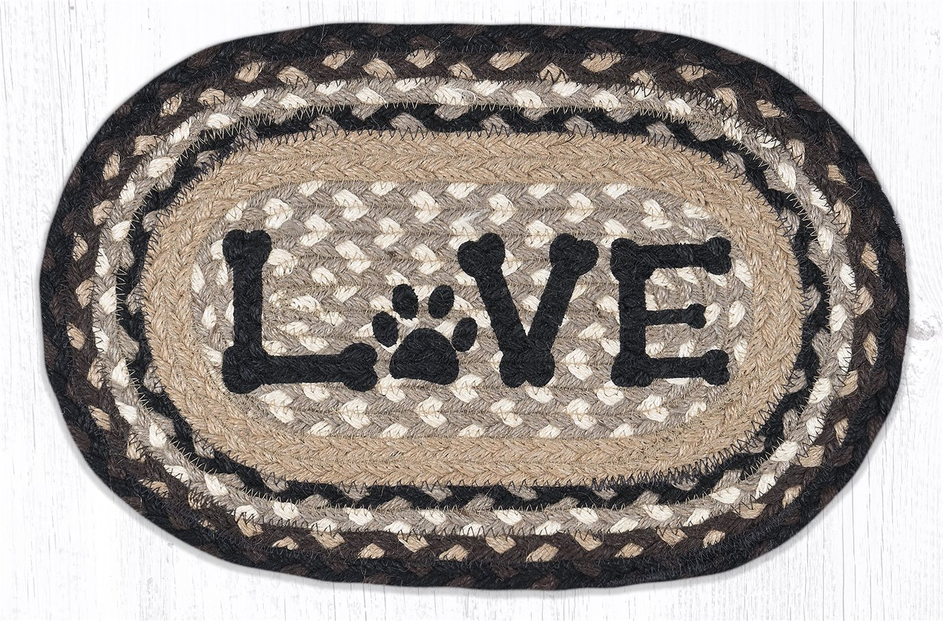 """Love Pet Printed Oval Braided Swatch 10""""x15"""""""