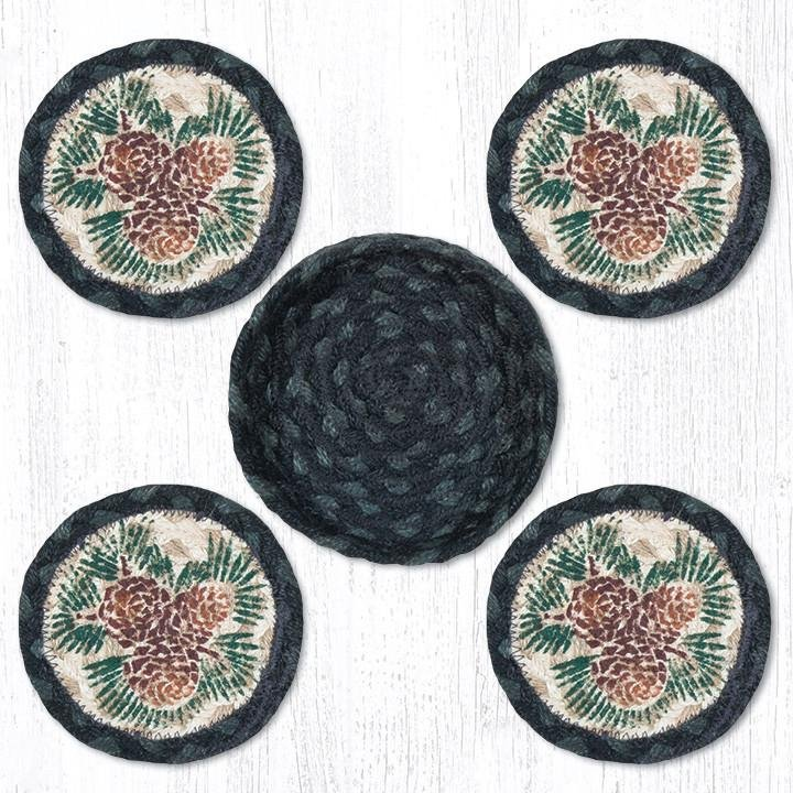 """Pinecone Braided Coasters in a Basket 5""""x5"""" Set of 4"""