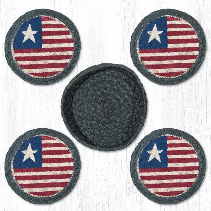 "Original Flag Braided Coasters in a Basket 5""x5"" Set of 4"