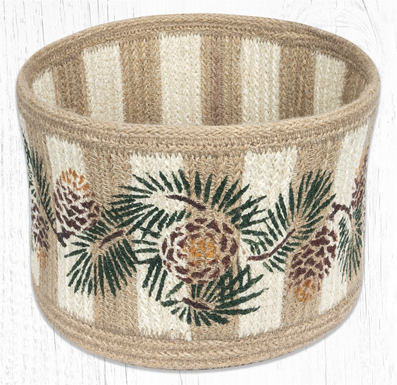 "Pinecone Natural Rope Braided Basket 9""x7"""