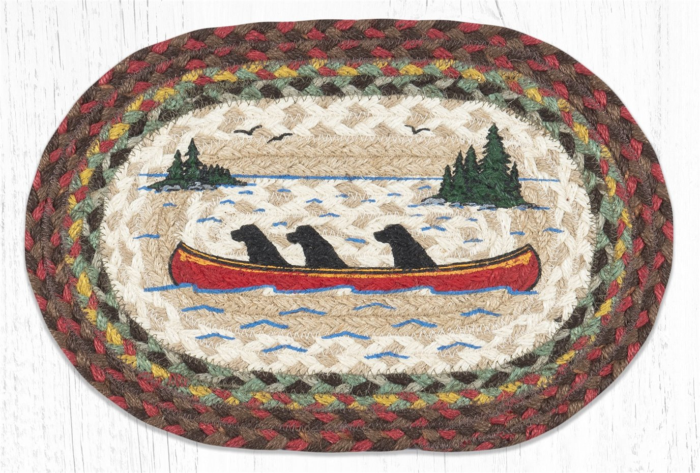 "Labs in Canoe Printed Oval Braided Swatch 10""x15"""