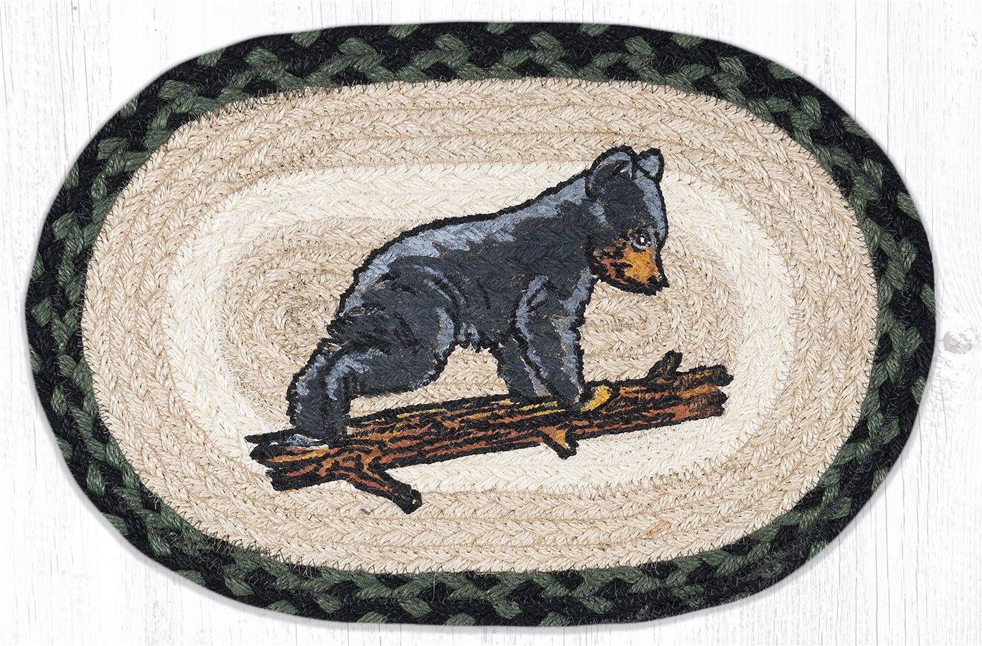 """Bear Cub Printed Oval Braided Swatch 10""""x15"""""""