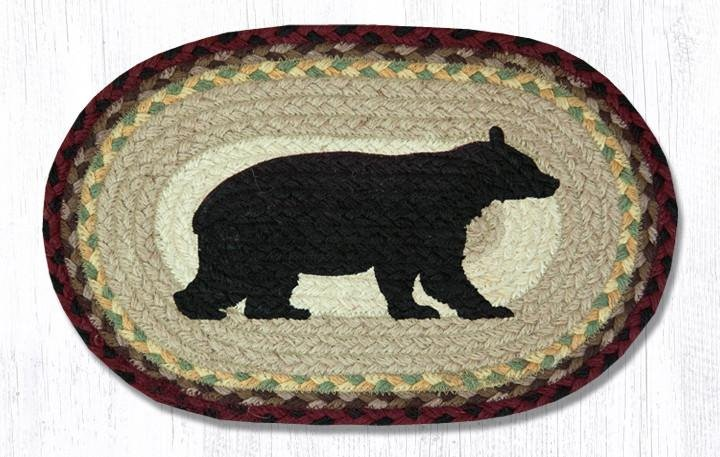 "Cabin Bear Printed Oval Braided Swatch 10""x15"""