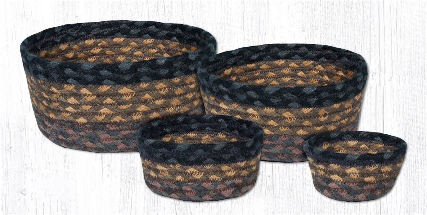 Brown/Black/Charcoal Braided Casserole Baskets Set of 4