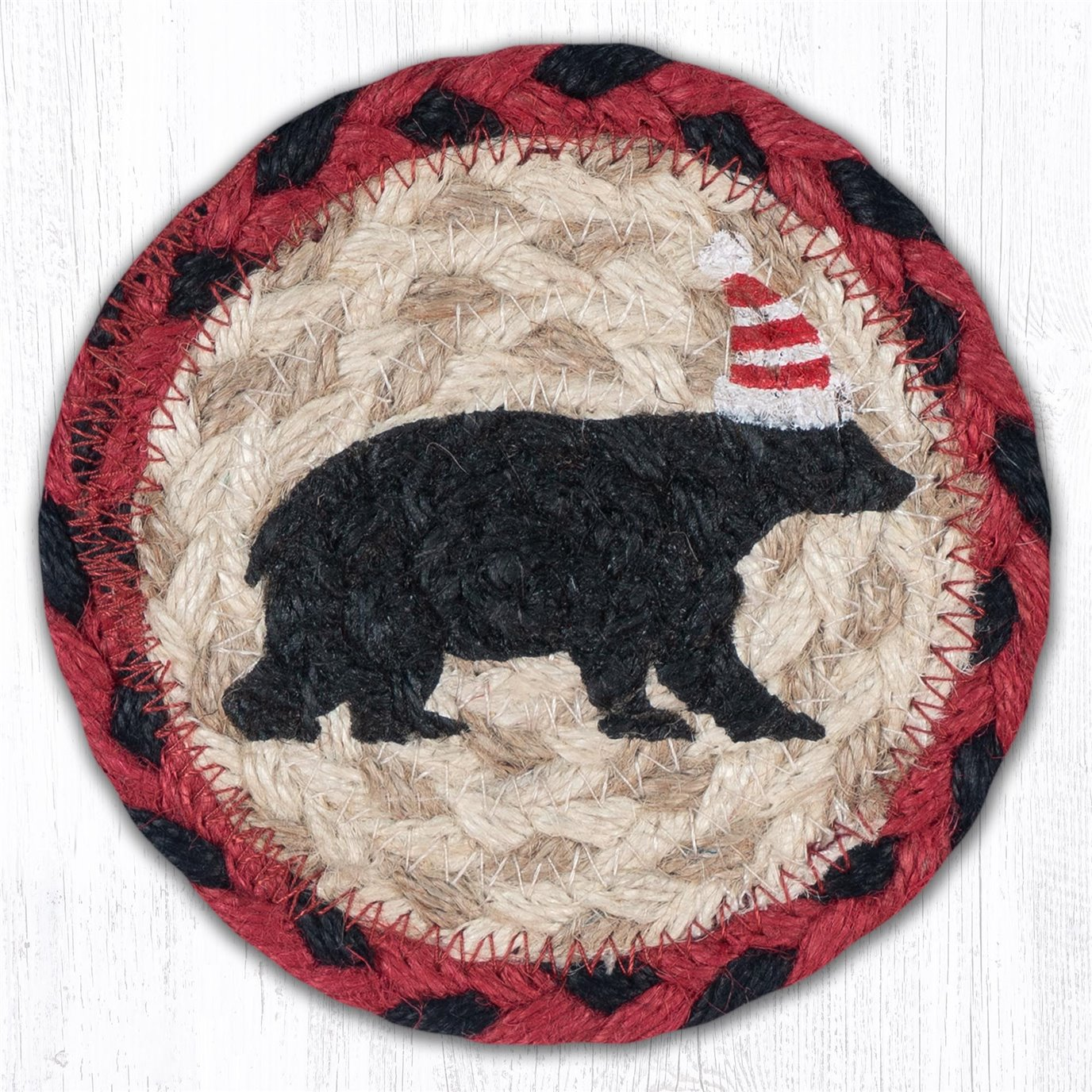 "Bear Red Stripe Hat Printed Braided Coaster 5""x5"" Set of 4"