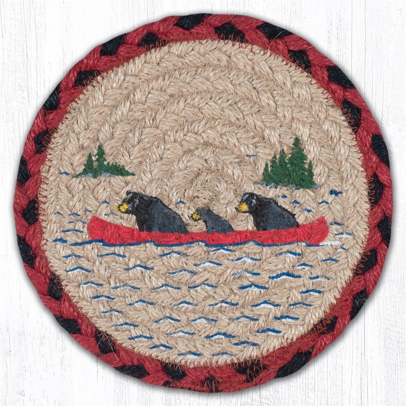 "Bears in Canoe Round Large Braided Coaster 7""x7"" Set of 4"