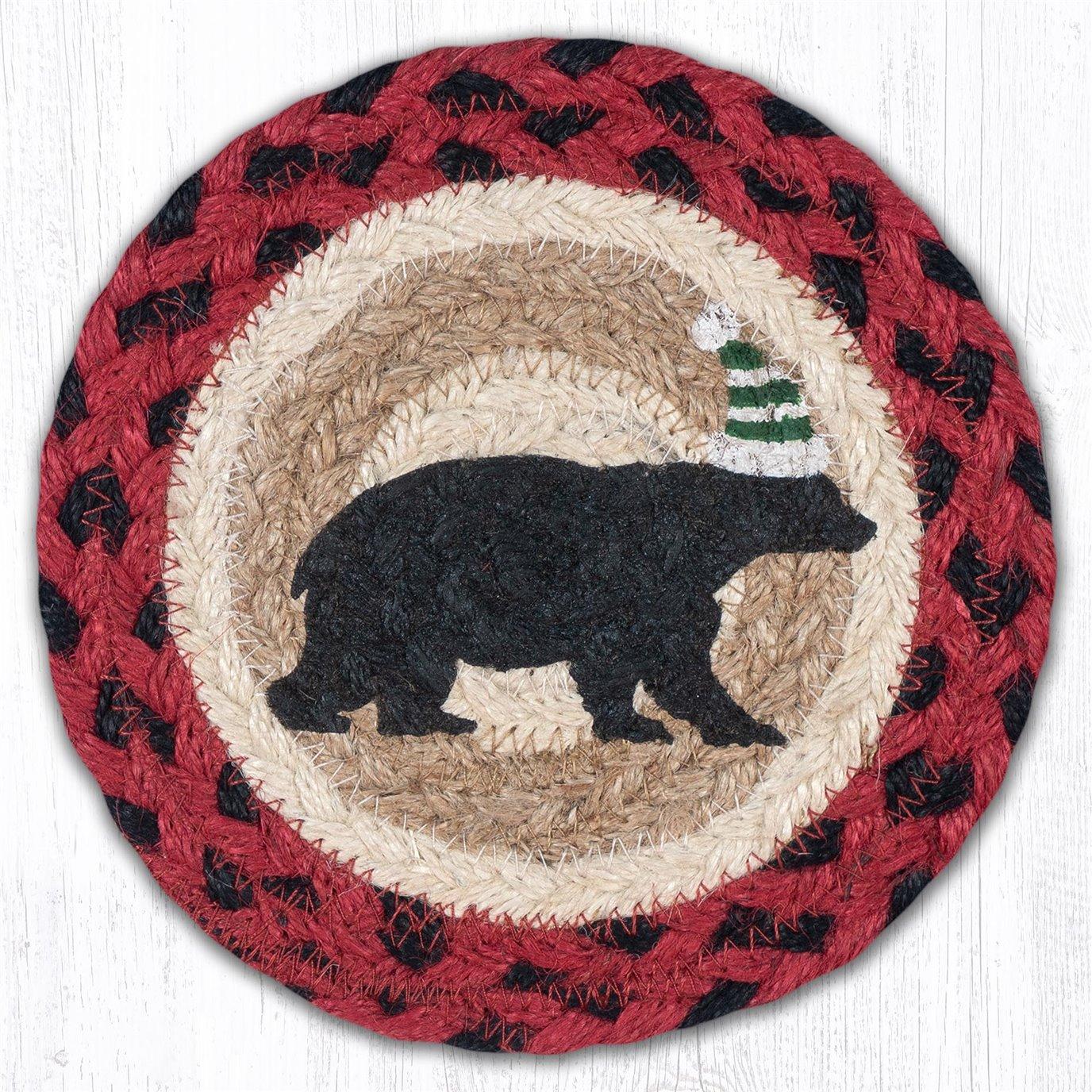 "Bear Green Stripe Hat Round Large Braided Coaster 7""x7"" Set of 4"