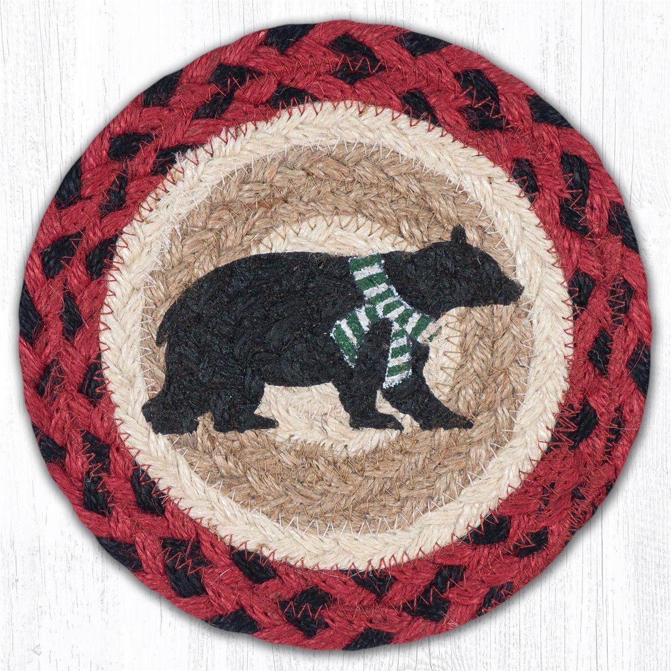 "Bear Green Stripe Scarf Round Large Braided Coaster 7""x7"" Set of 4"