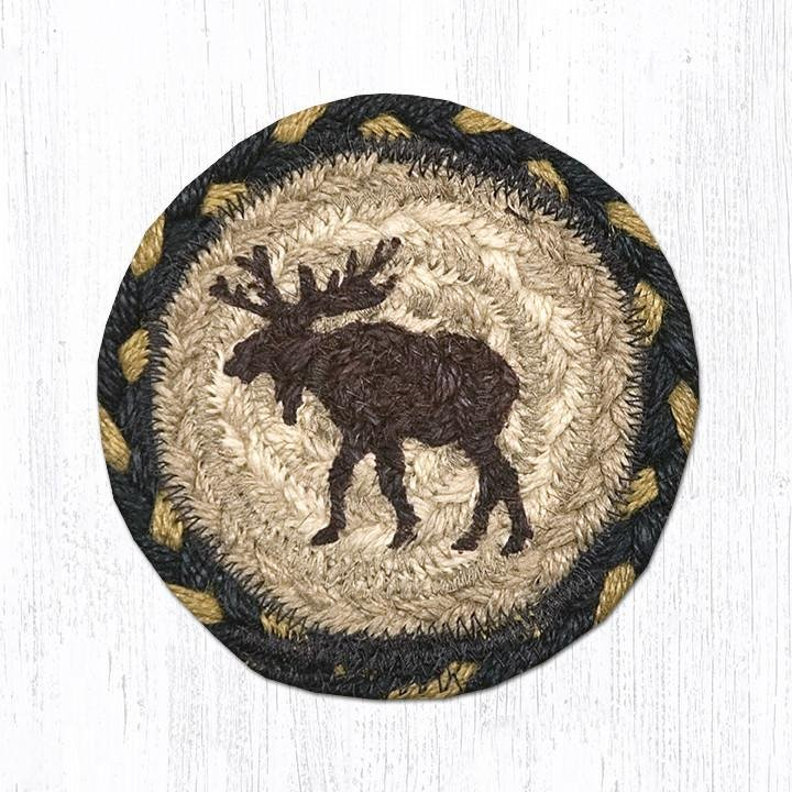 "Moose Printed Braided Coaster 5""x5"" Set of 4"