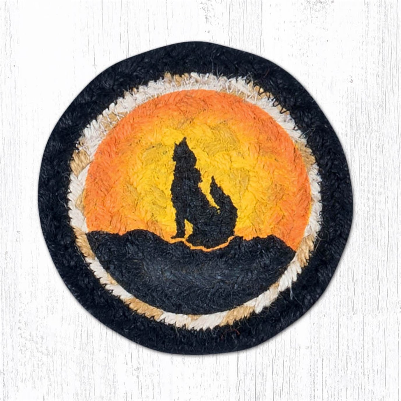 """Coyote Silhouette Printed Braided Coaster 5""""x5"""" Set of 4"""