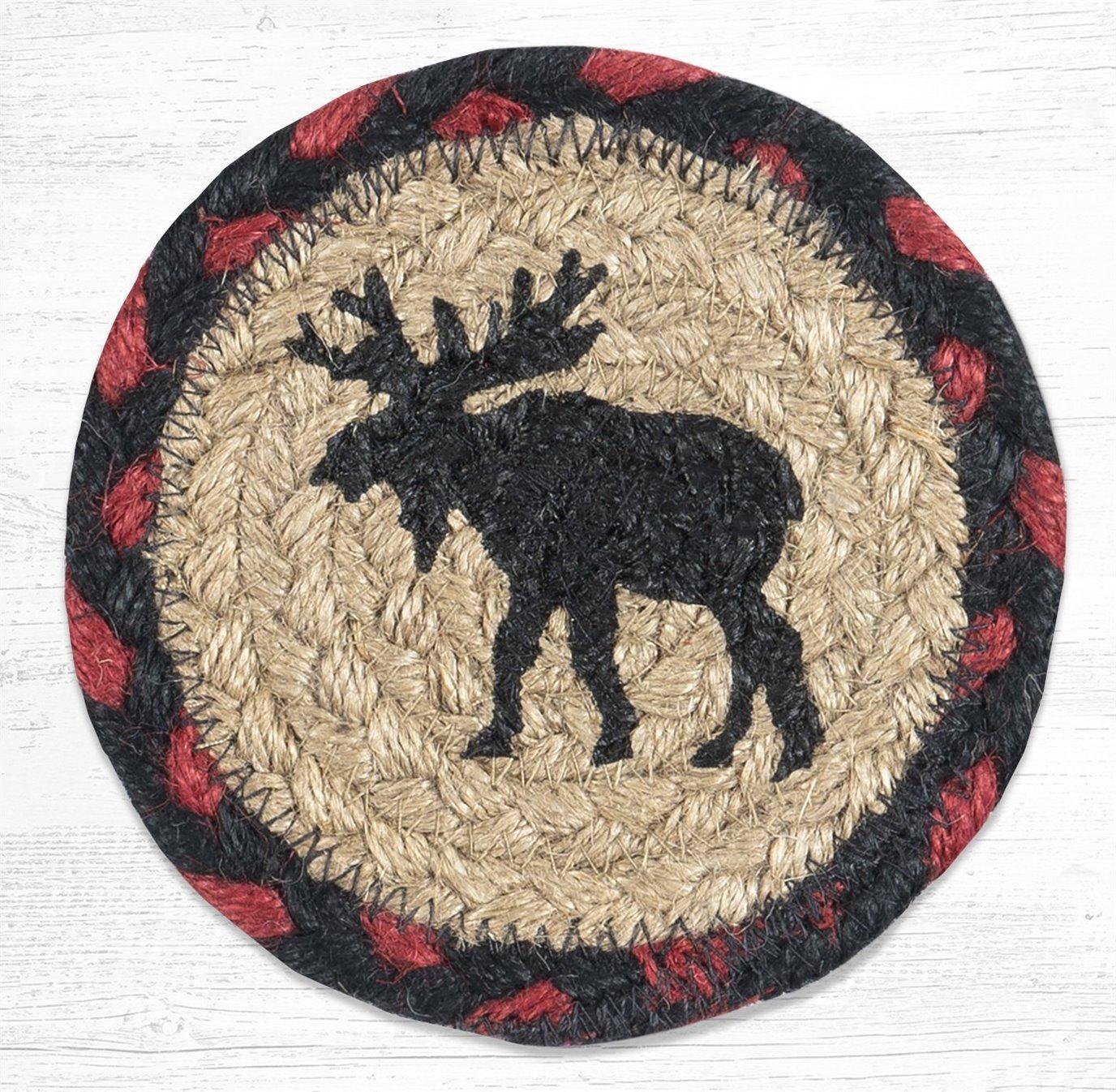 "Black Moose Printed Braided Coaster 5""x5"" Set of 4"