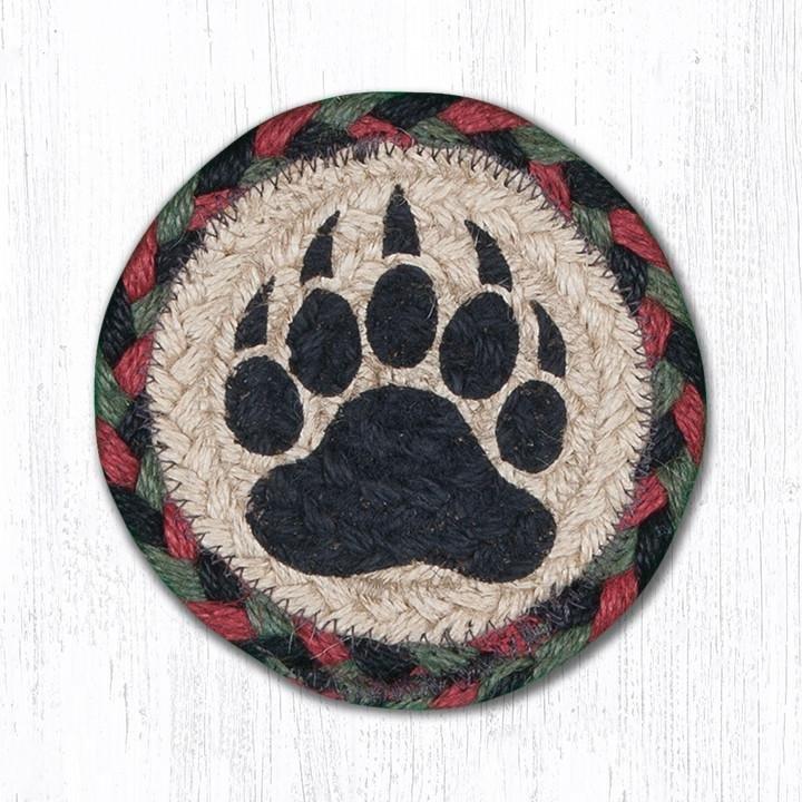 "Bear Paw Printed Braided Coaster 5""x5"" Set of 4"