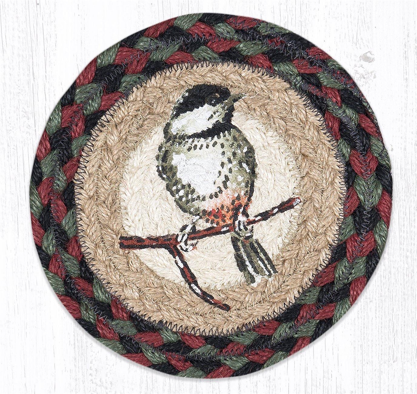 "Chickadee Round Large Braided Coaster 7""x7"" Set of 4"