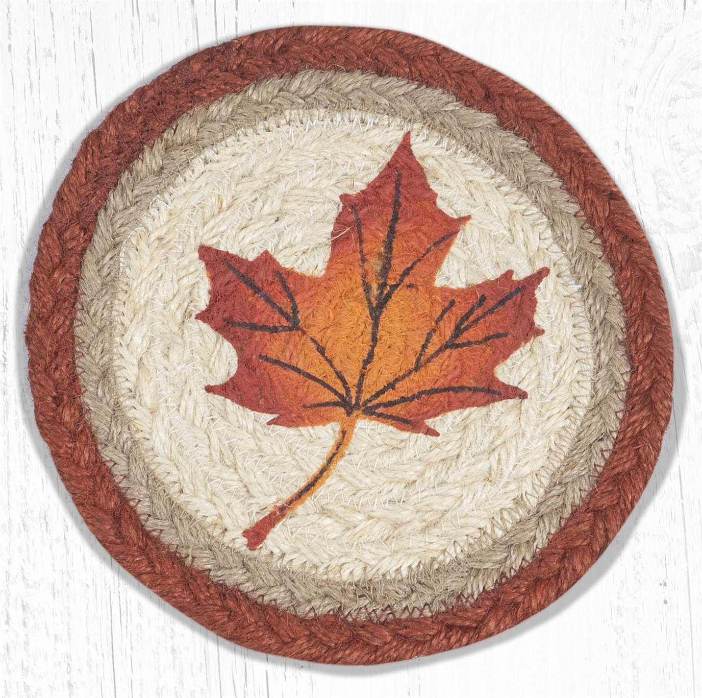 """Maple Leaf Round Large Braided Coaster 7""""x7"""" Set of 4"""
