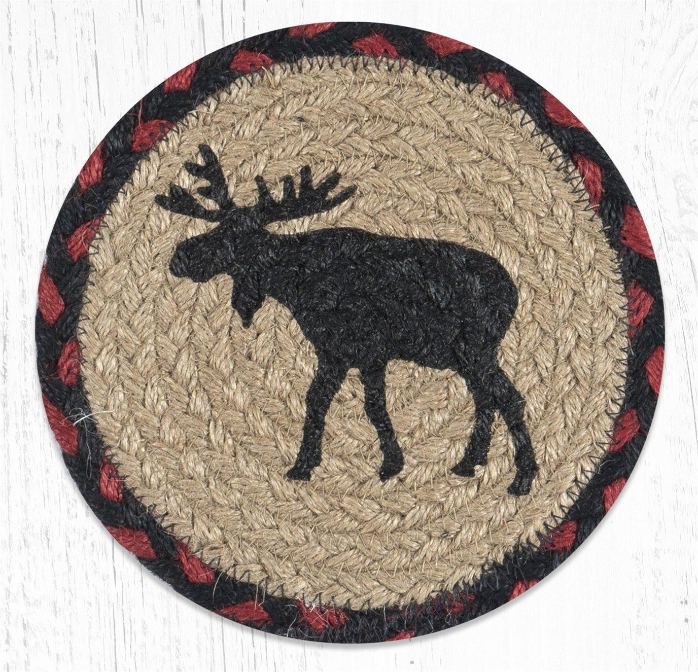 """Black Moose Round Large Braided Coaster 7""""x7"""" Set of 4"""