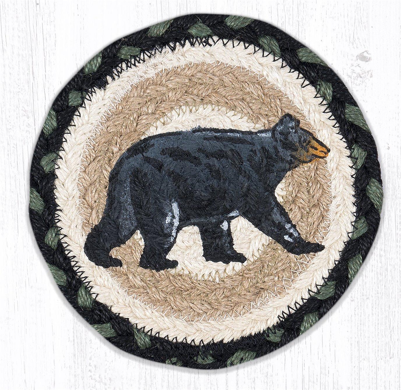 """Mama Bear Round Large Braided Coaster 7""""x7"""" Set of 4"""