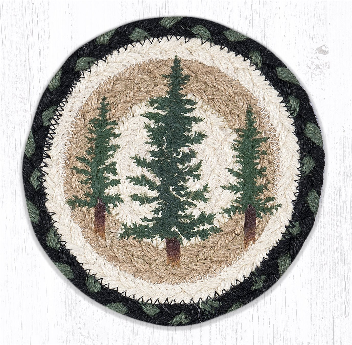 """Tall Timbers Round Large Braided Coaster 7""""x7"""" Set of 4"""