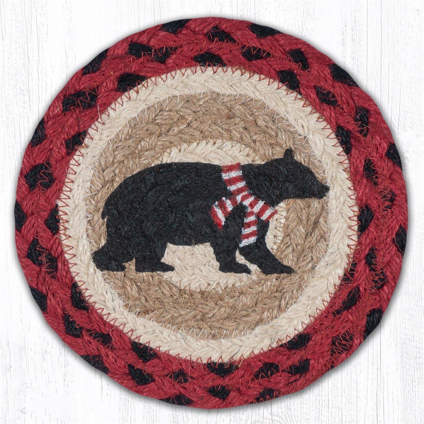 "Bear Red Stripe Scarf Round Large Braided Coaster 7""x7"" Set of 4"