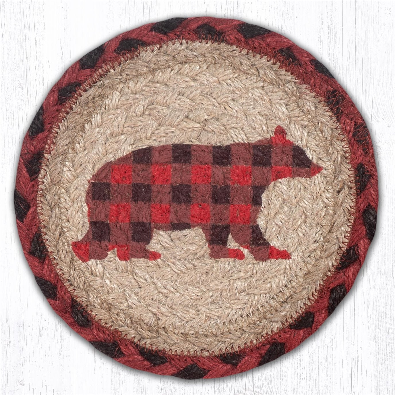 """Flannel Bear Round Large Braided Coaster 7""""x7"""" Set of 4"""