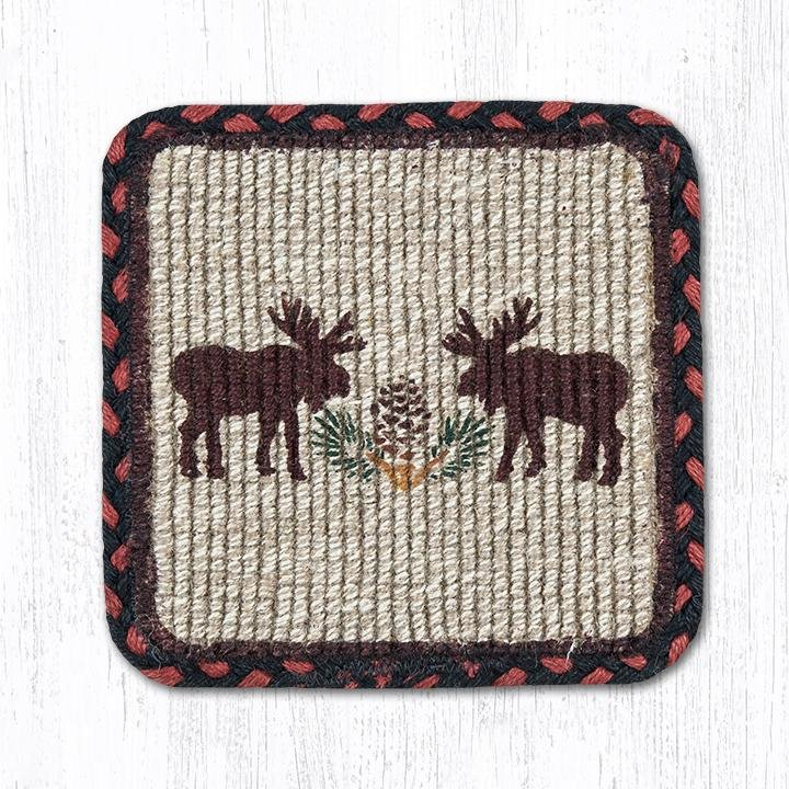 "Moose/Pinecone Wicker Weave Braided Coaster 5""x5"" Set of 4"
