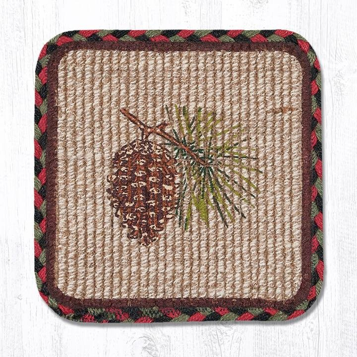 "Pinecone Wicker Weave Braided Coaster 5""x5"" Set of 4"