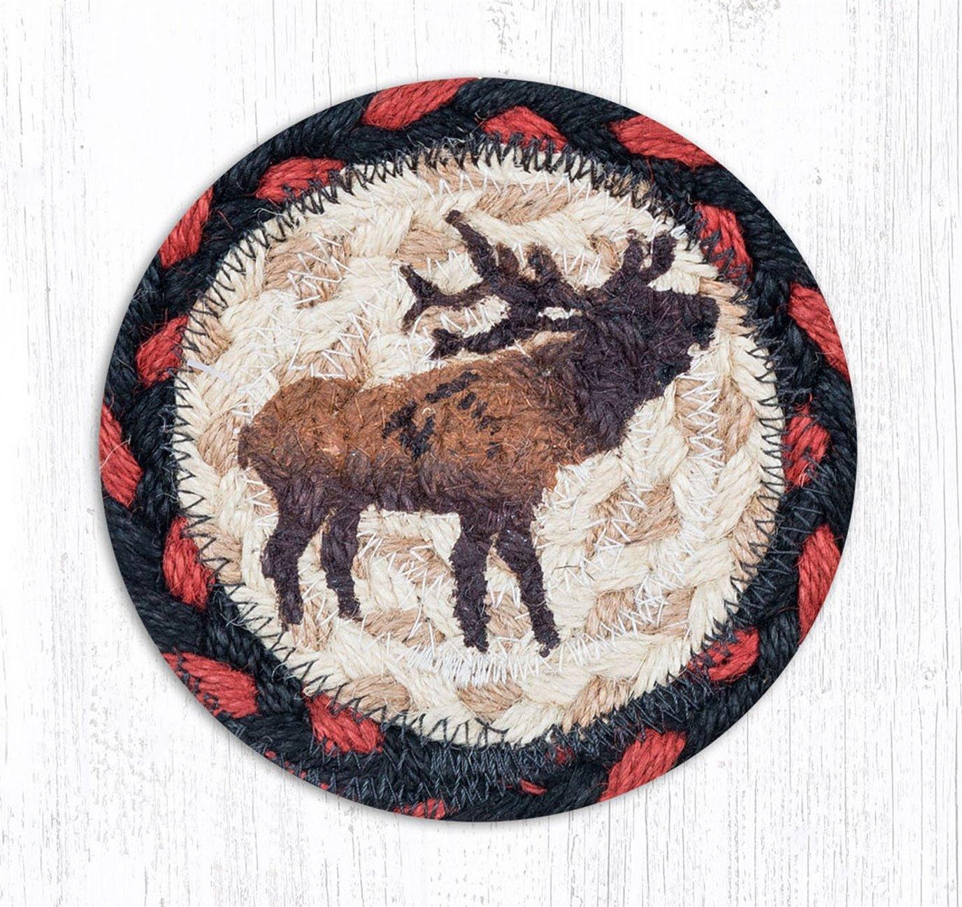 """Winter Elk Printed Braided Coaster 5""""x5"""" Set of 4"""