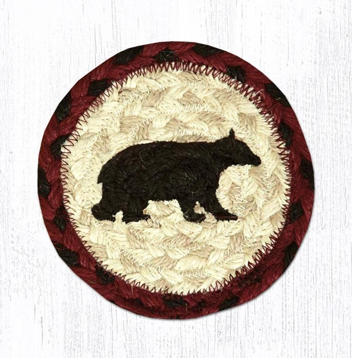 "Cabin Bear Printed Braided Coaster 5""x5"" Set of 4"