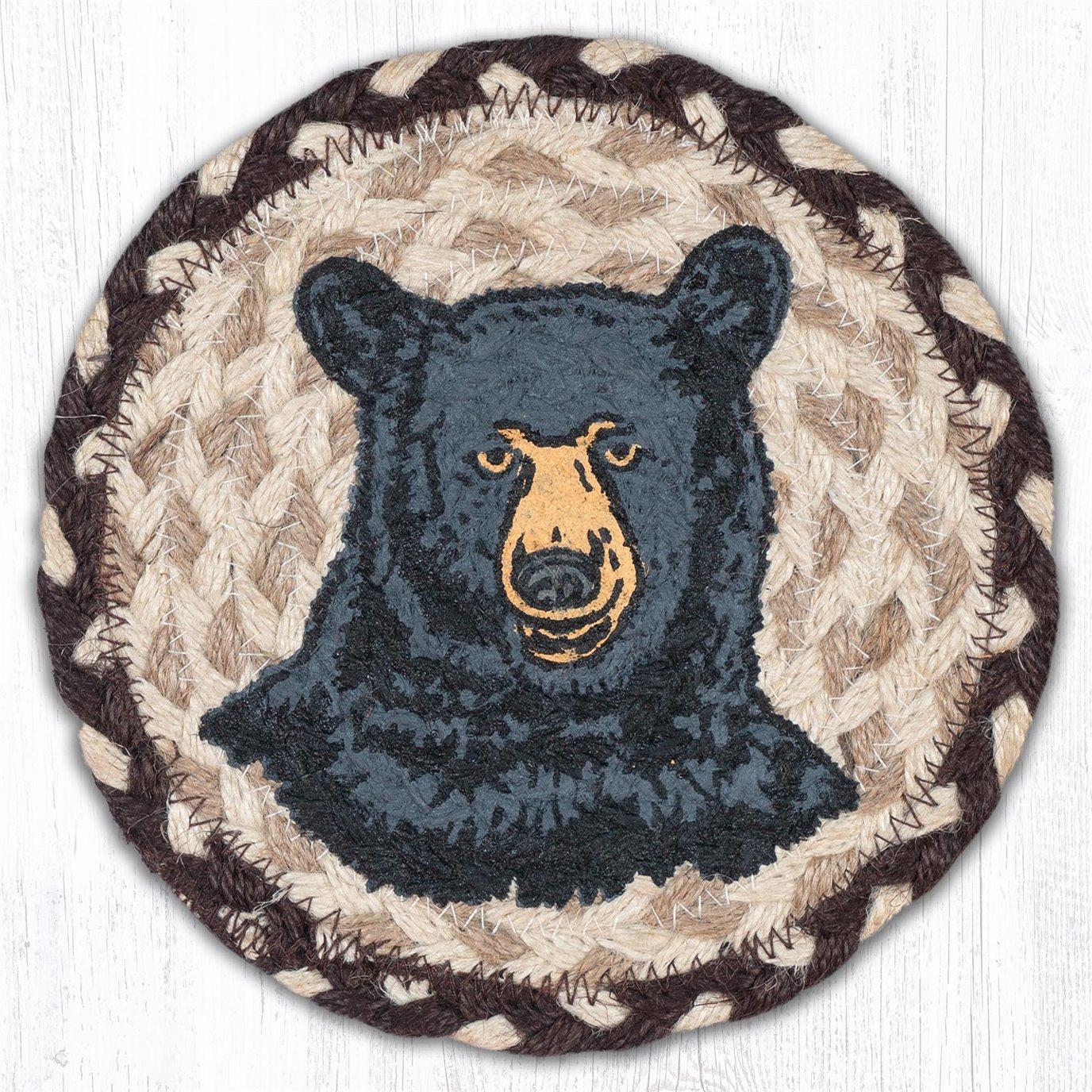 """Bear Round Large Braided Coaster 7""""x7"""" Set of 4"""