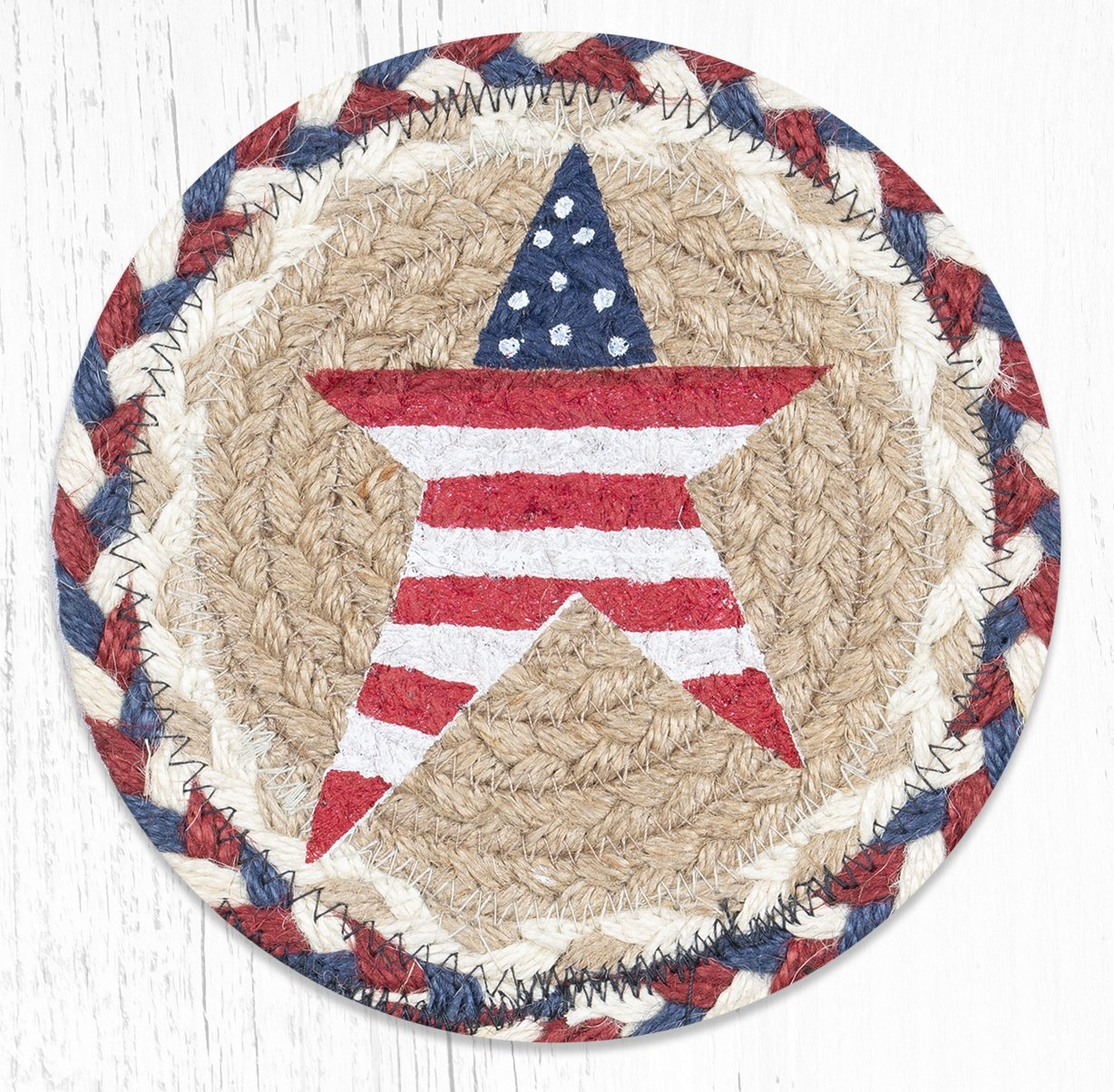 """Primitive American Star Round Large Braided Coaster 7""""x7"""" Set of 4"""