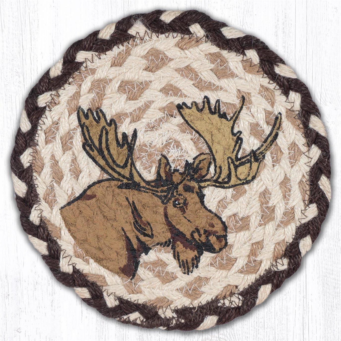 """Moose Round Large Braided Coaster 7""""x7"""" Set of 4"""