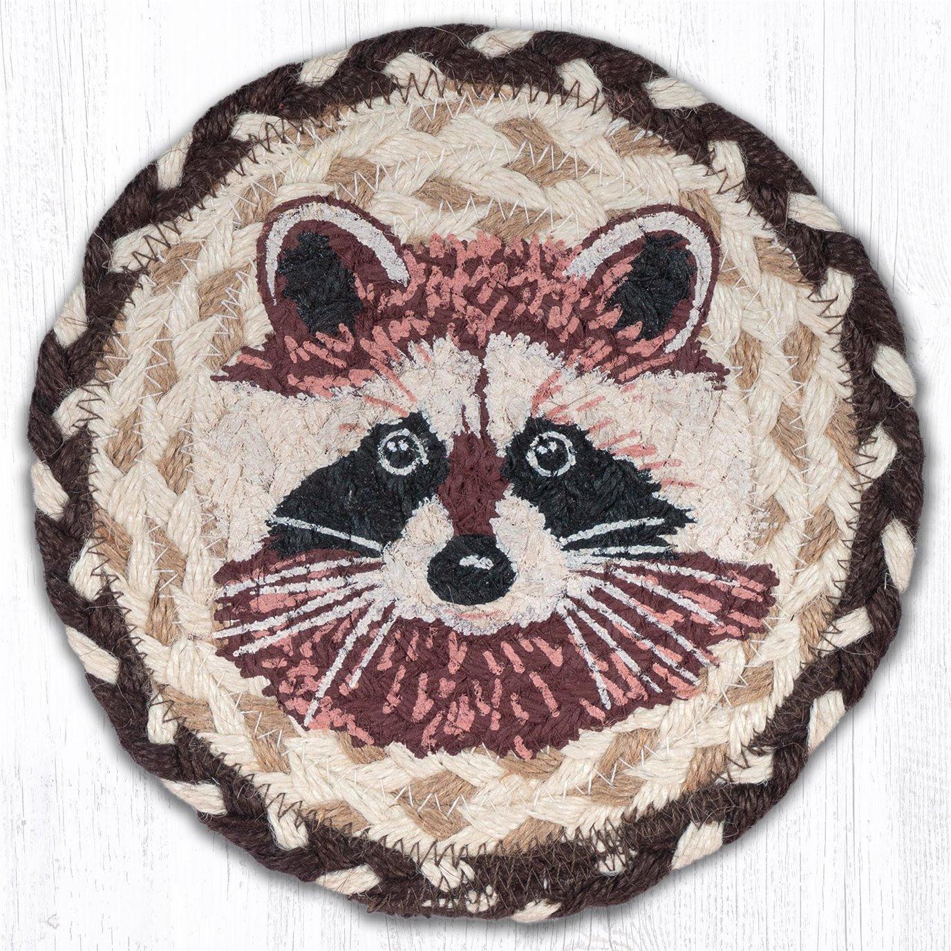 "Raccoon Round Large Braided Coaster 7""x7"" Set of 4"