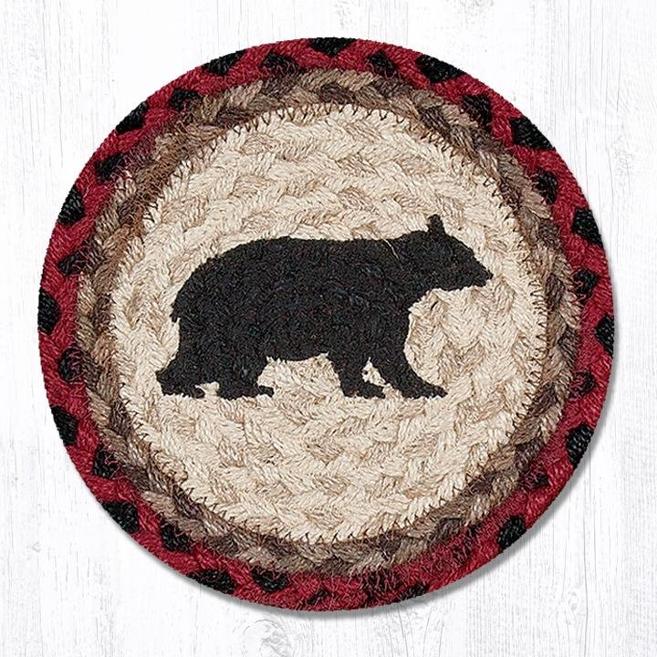 "Cabin Bear Round Large Braided Coaster 7""x7"" Set of 4"