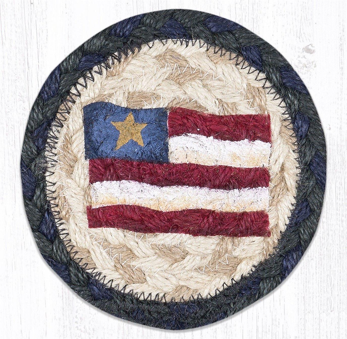 "Primitive Star Flag Printed Braided Coaster 5""x5"" Set of 4"