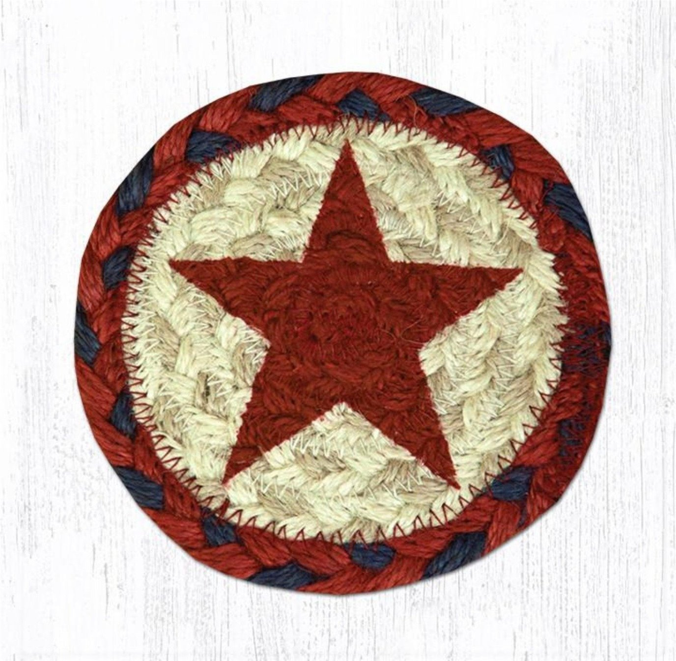 """Red Star Printed Braided Coaster 5""""x5"""" Set of 4"""
