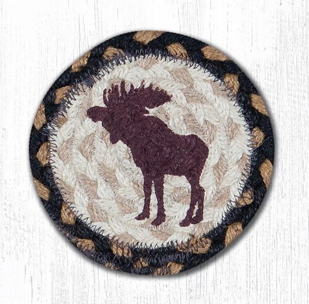 "Bull Moose Printed Braided Coaster 5""x5"" Set of 4"