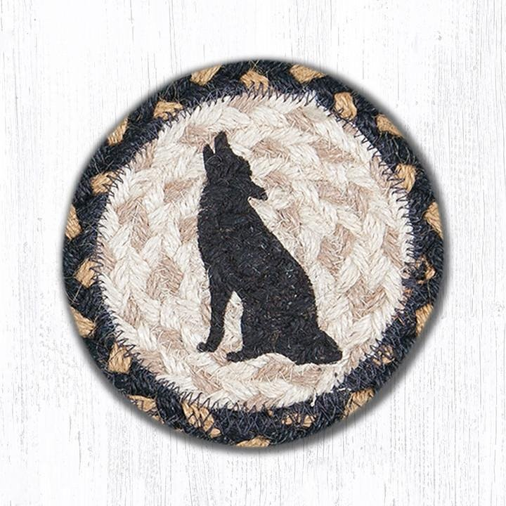 """Howling Coyote Printed Braided Coaster 5""""x5"""" Set of 4"""